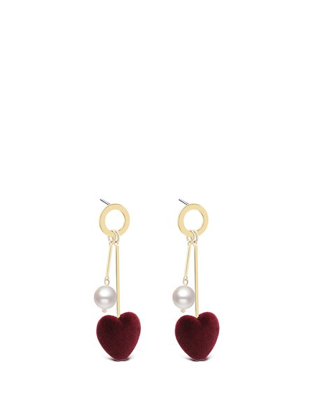 Red Heart Imitation Pearl Earrings