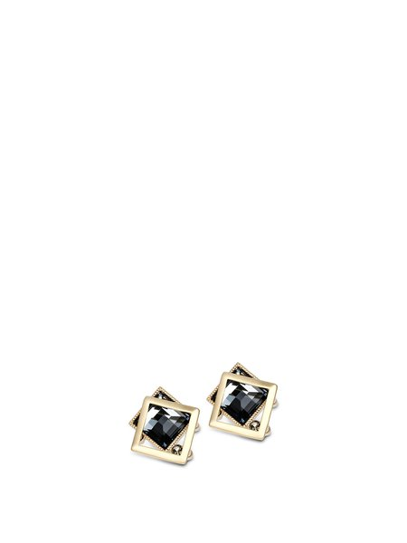 Black Crystal Alloy Geometry Earrings
