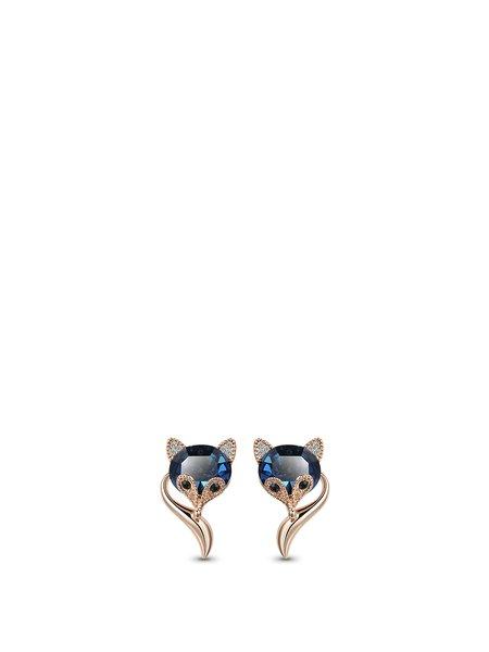 Blue Alloy Animal Crystal Earrings