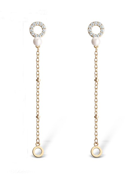 Golden Alloy Cubic Zirconia Earrings