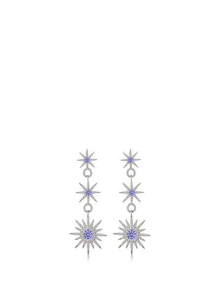 Blue Alloy Cubic Zirconia Earrings