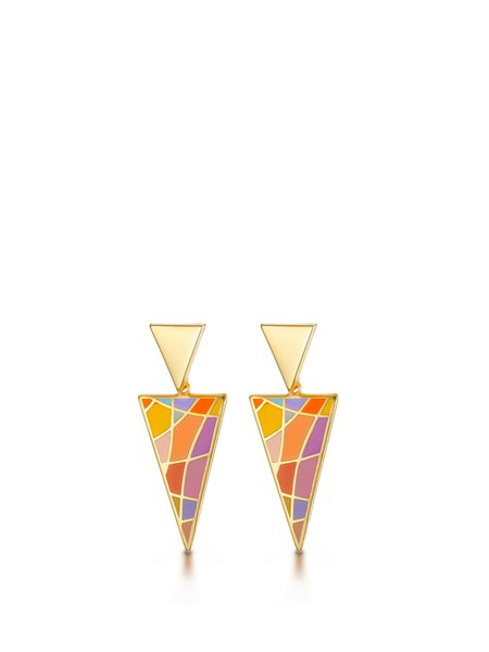 Multicolor Alloy Triangle Earrings