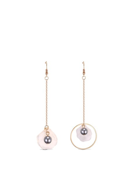 Golden Round Imitation Pearl Alloy Earrings
