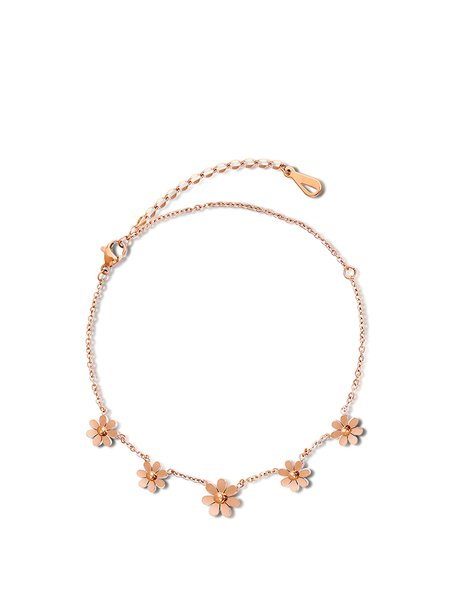 Rose Gold Alloy Flower Anklet
