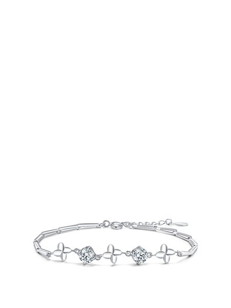 White Cubic Zirconia Silver-Color Bracelet