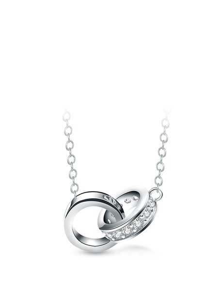 Silver 925 Sterling Silver Cubic Zirconia Round Necklace