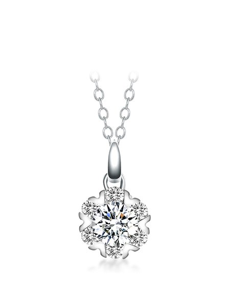 Silver 925 Sterling Silver Cubic Zirconia Necklace