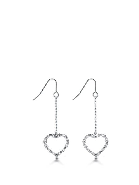 White 925 Sterling Silver Heart Earrings