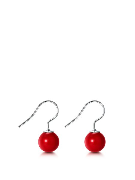 Red Round 925 Sterling Silver Earrings
