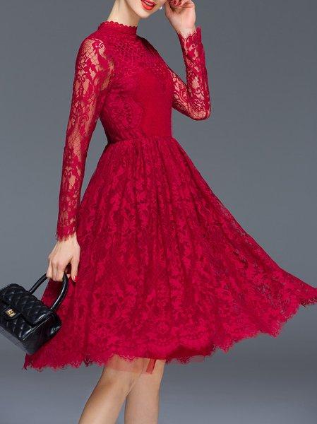 Red Elegant Crew Neck Pierced Midi Dress