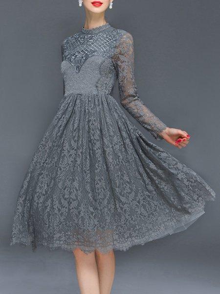 Gray Long Sleeve Lace Midi Dress