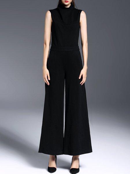 Black Sleeveless Plain Simple Jumpsuit
