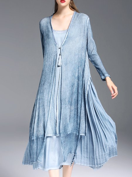 Blue Slit Long Sleeve Plain Open Collar Tencel Coat