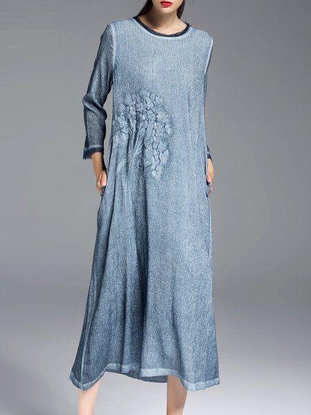 Vintage Long Sleeve Pockets H-line Embroidered Midi Dress