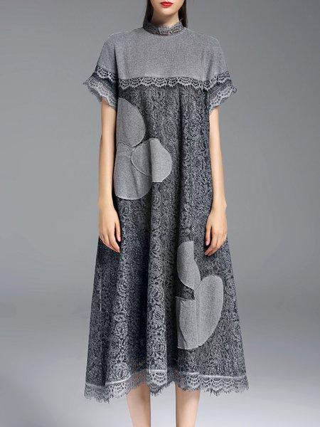 Gray Short Sleeve A-line Plain Appliqued Crocheted Lace Midi Dress