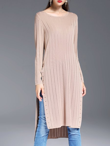 Apricot Casual Slit Shift Knitted Plain Tunic