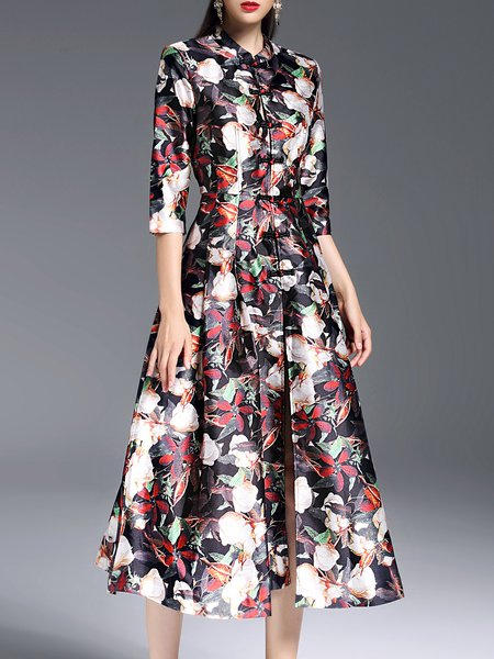 A-line 3/4 Sleeve Stand Collar Polyester Floral Print Vintage Trench Coat