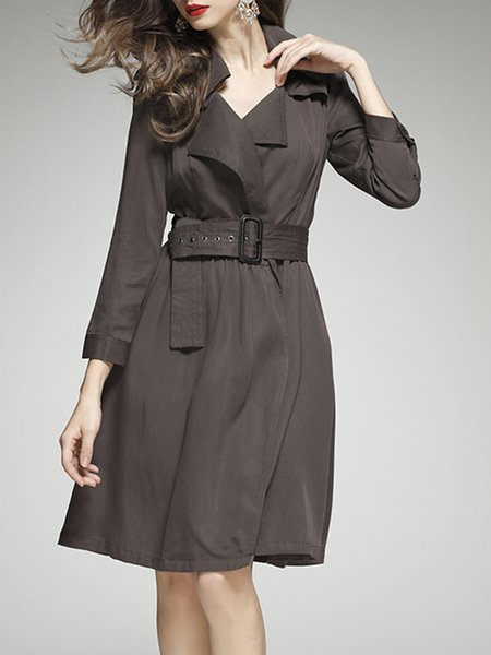 Brown 3/4 Sleeve Buttoned Midi Dress