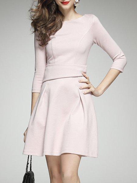 Cotton-blend 3/4 Sleeve Girly Bateau/boat Neck Folds Midi Dress