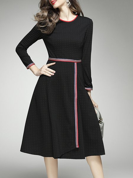 Black Zipper Paneled Polyester Long Sleeve Midi Dress