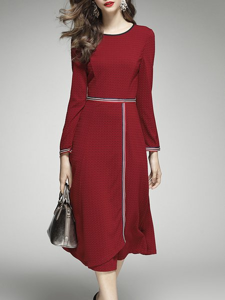 Red Simple Crew Neck Paneled A-line Midi Dress