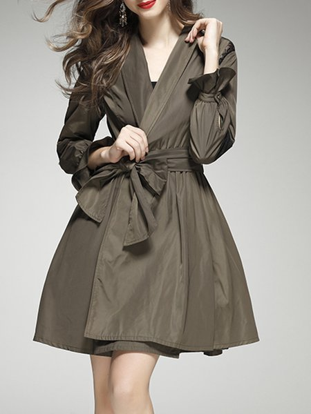 Lapel Paneled Simple Frill Sleeve Midi Dress