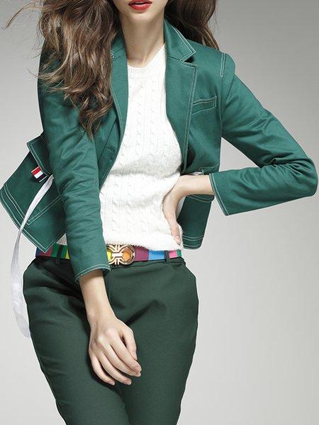 Green Lapel Plain Cotton Simple Blazer