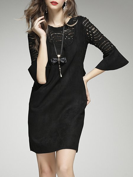 Black Frill Sleeve Pockets Two Piece Midi Dress