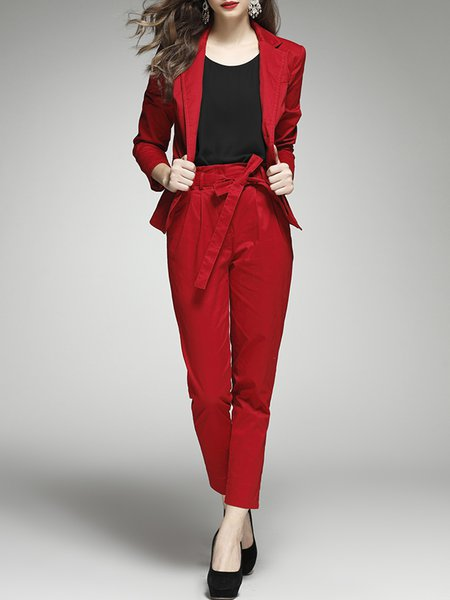 Work Two Piece Buttoned Pockets 3/4 Sleeve Suits