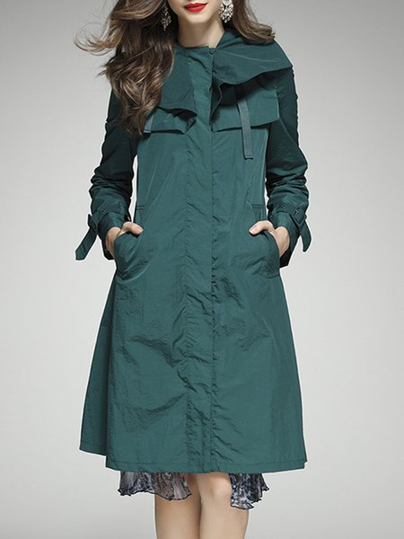 Green Paneled Casual Hoodie Trench Coat