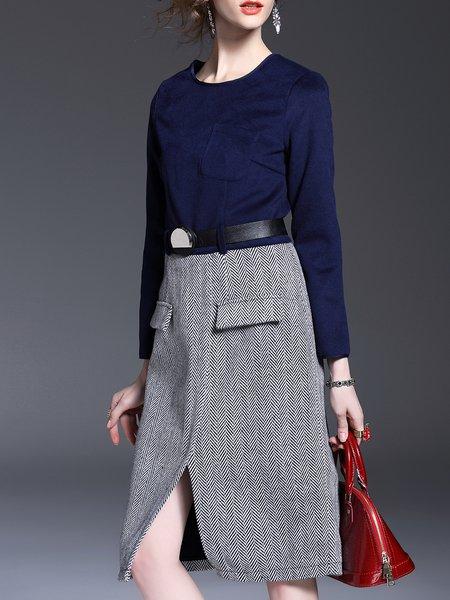 Blue Simple Paneled Slit Midi Dress