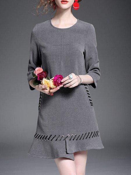 Gray Lace Up A-line Long Sleeve Plain Mini Dress