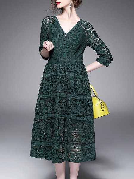 A-line Long Sleeve Elegant Lace Pierced Midi Dress