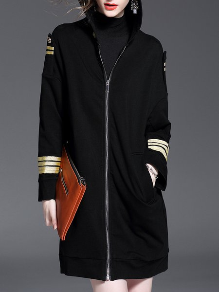 Casual Long Sleeve Cotton-blend Pockets Coat