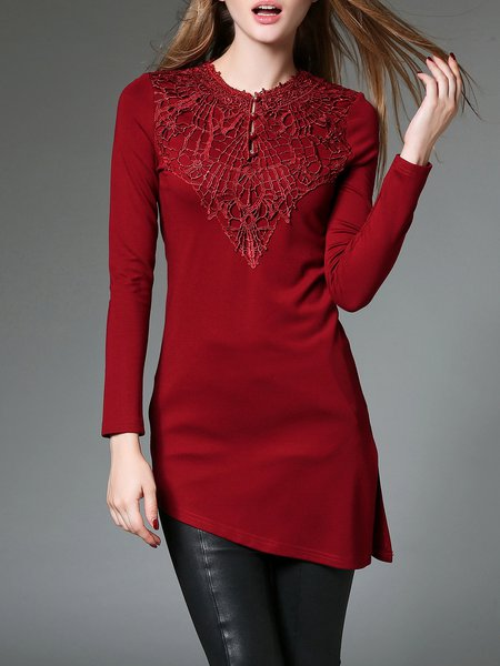 Wine Red Embroidered Cotton-blend Asymmetrical Long Sleeved Top