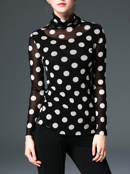 Polka Dots Long Sleeve Casual Turtleneck Printed Top