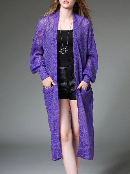 Purple Plain Pockets Casual Knitted Cardigan