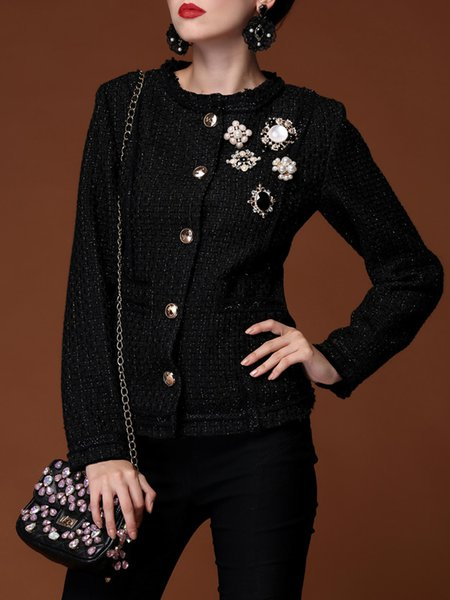 Buttoned Tweed Long Sleeve Plain Elegant Coat