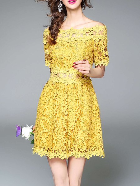 Yellow Elegant Crocheted A-line Party Dress