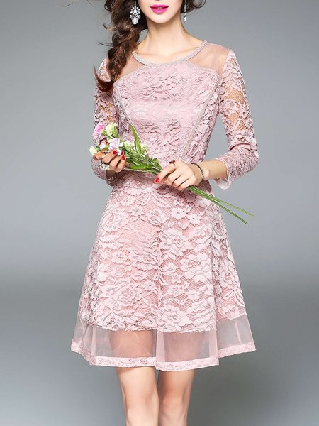 Pink Crew Neck Guipure Lace Elegant A-line Mini Dress