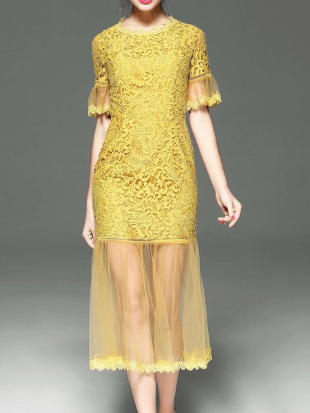 Yellow Guipure Crew Neck Elegant Mermaid Party Dress
