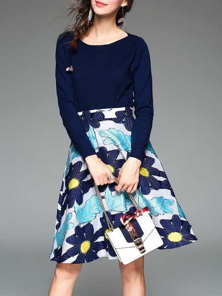 Dark Blue Jacquard Long Sleeve Floral Two Piece Midi Dress With Belt