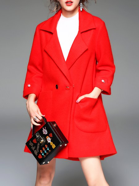 Red Long Sleeve Lapel Buttoned A-line Coat