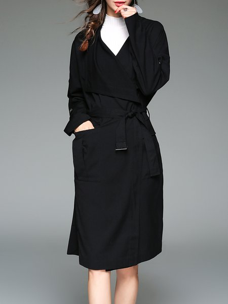 Long Sleeve Solid A-line Pockets Casual Coat With Belt