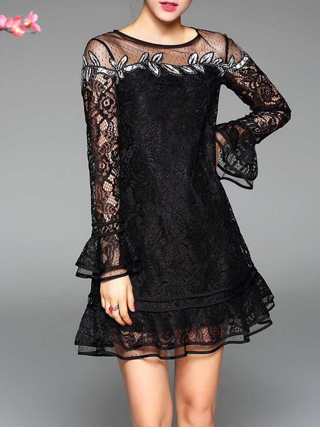 Black Lace Paneled Frill Sleeve Mini Dress