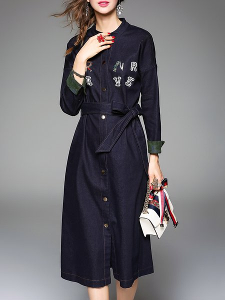 Dark Green Letter Stand Collar Long Sleeve A-line Midi Dress