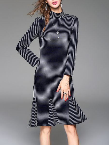 Navy Blue Long Sleeve Ruffled Mermaid Midi Dress