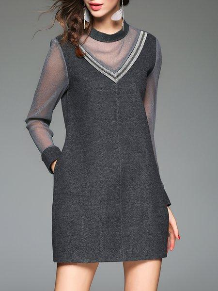 Elegant Plain See-through Look Long Sleeve Stand Collar Mini Dress
