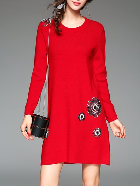 Red Beaded Long Sleeve H-line Cashmere Mini Dress