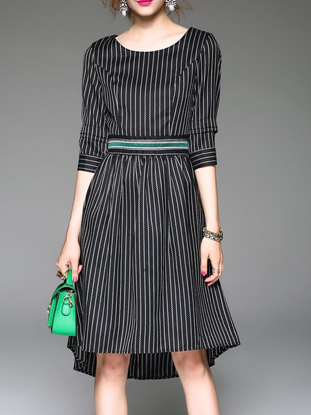 Multicolor Asymmetrical 3/4 Sleeve Boat Neck Stripes Midi Dress